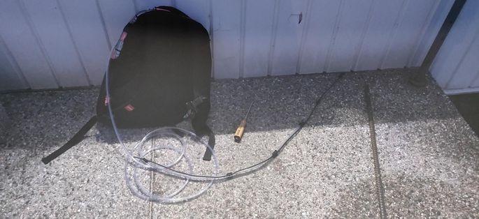 Сумка с оборудованием для подрыва банкомата. Фото: Põhja prefektuur.