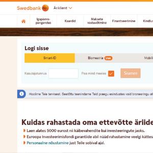 Swedbank.ee. Скриншот.